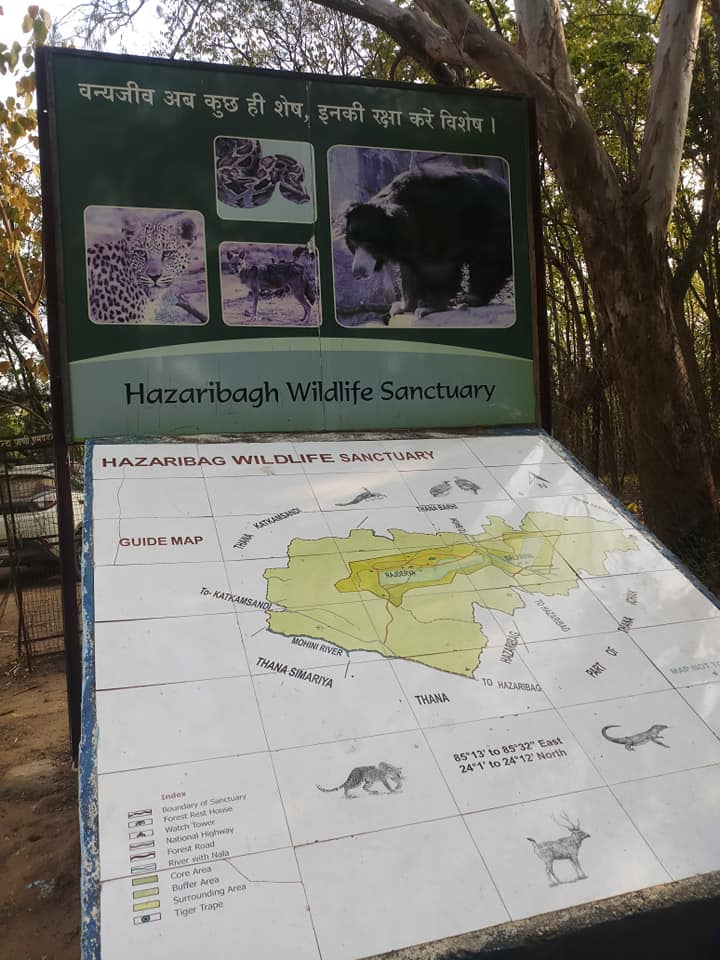 Map of Hazaribagh Wildlife Sanctuary