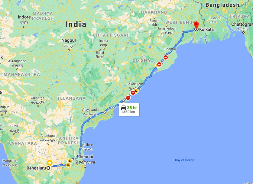 The Distance between Bangalore and Kolkata is 1,880 km via NH16